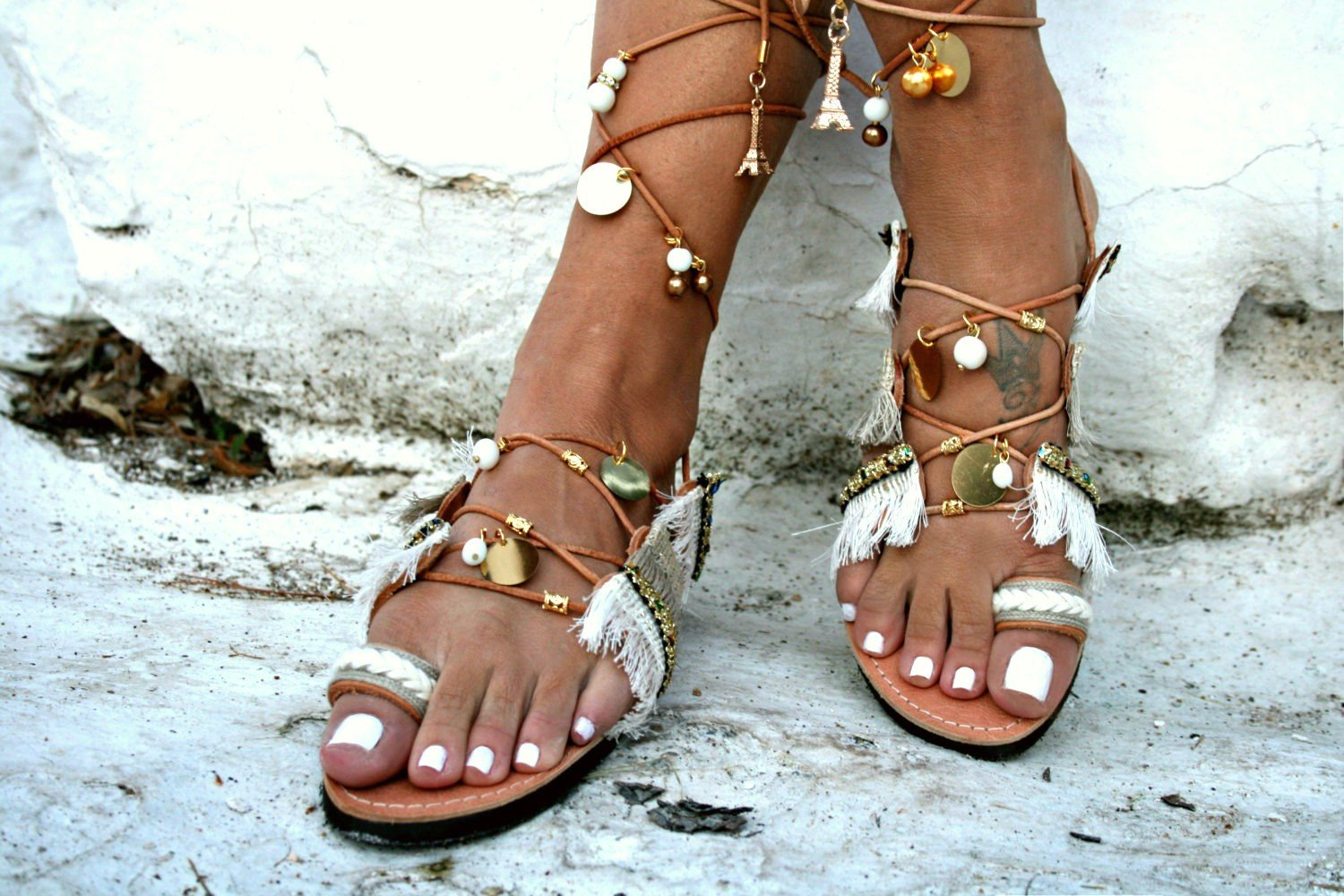 e859fe60a84bf Gold Tie Up Leather Sandal - Paros
