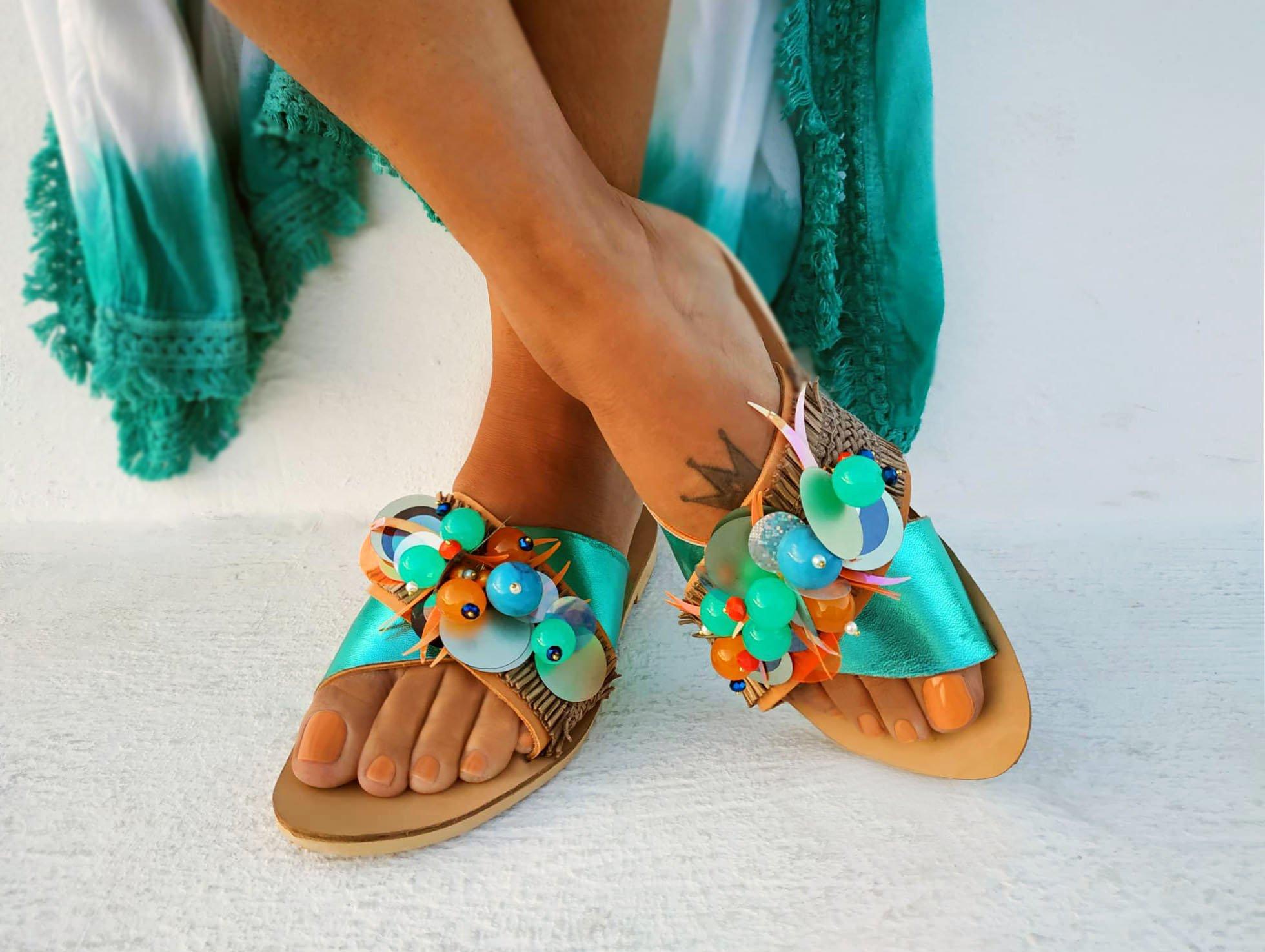 0906d57822256 Blue Turquoise sandals-Anatolius
